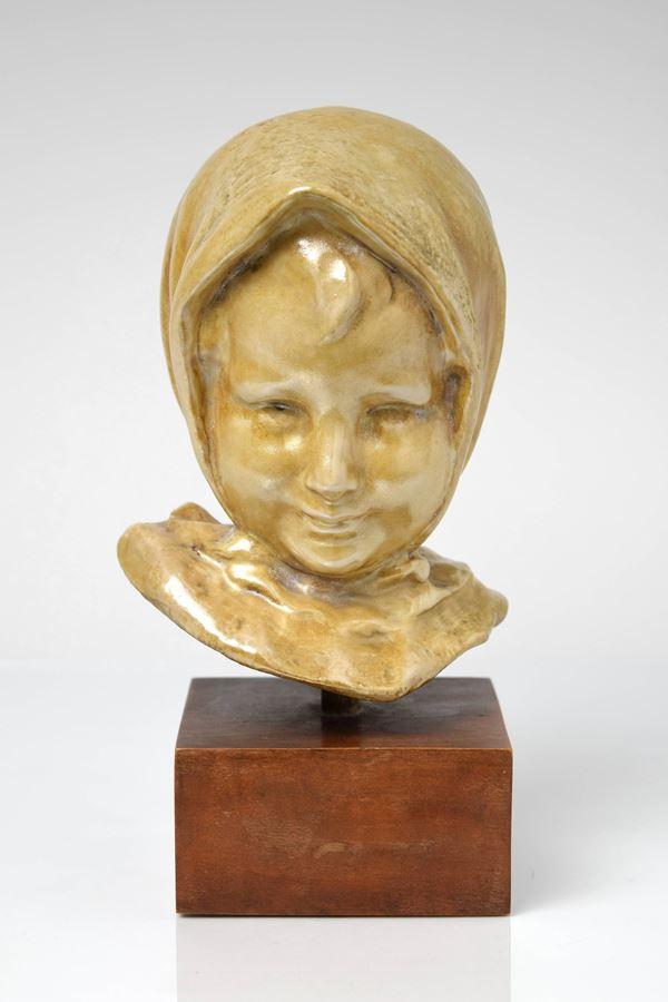 Pietro  Melandri - Testa di bimba con fazzoletto