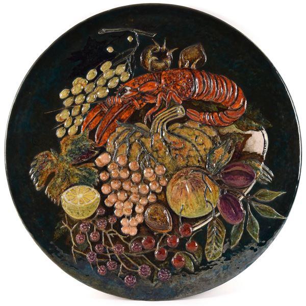 Pietro  Melandri - Grande piatto con frutta e aragosta