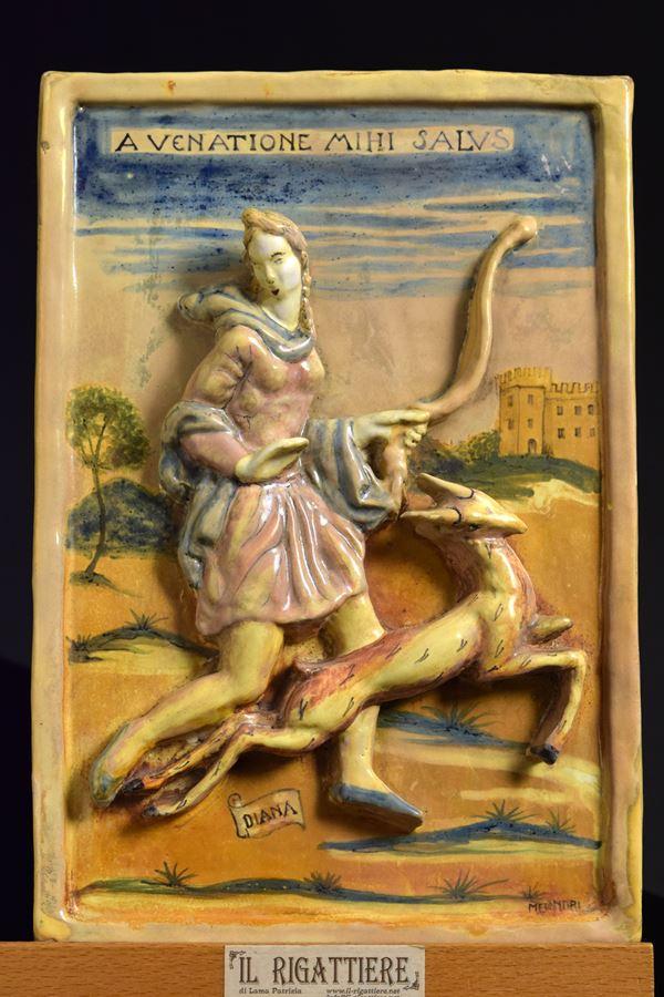 Pietro  Melandri - Piastrella con Diana cacciatrice