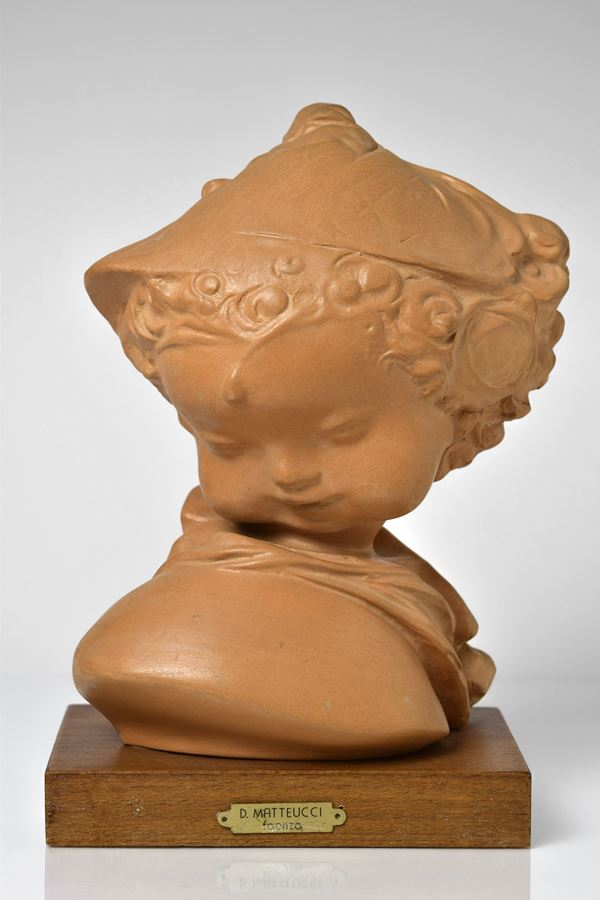 Domenico Matteucci - Busto di putto in terracotta