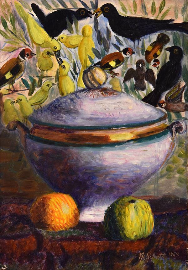 Francesco Galeotti - Zuppiera e uccellini